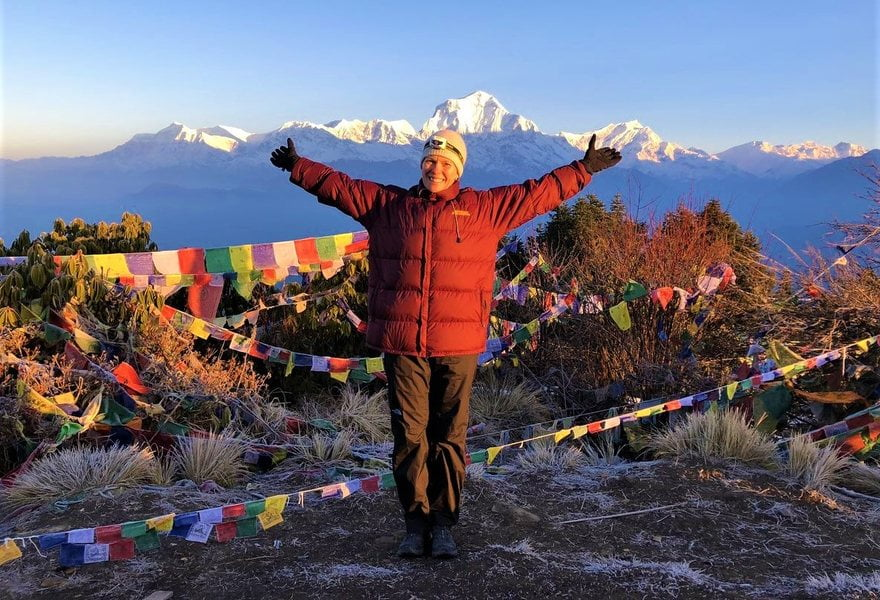 Annapurna Base Camp Trek ( Women Enjoying at Ghorepani Poonhill)