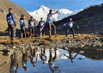 Trekkers dancing near Gokyo Lakes - Everst Gokyo Lake Trekking