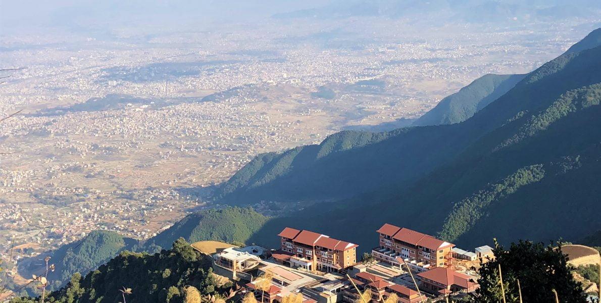 Aerial view of Kathmandu seen from Chandragiri hill