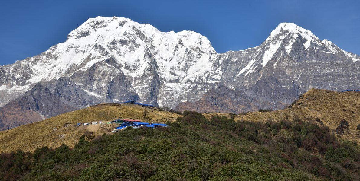 Beautiful Scenery of Annapurna mountains captured on the way to Mardi Himal Base Camp