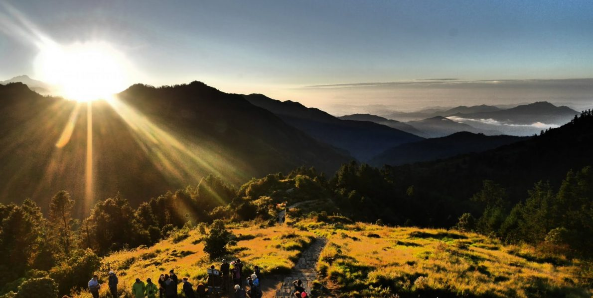 An early morning sunrise at Poonhill captured during Ghorepani Poonhill Luxury Trek