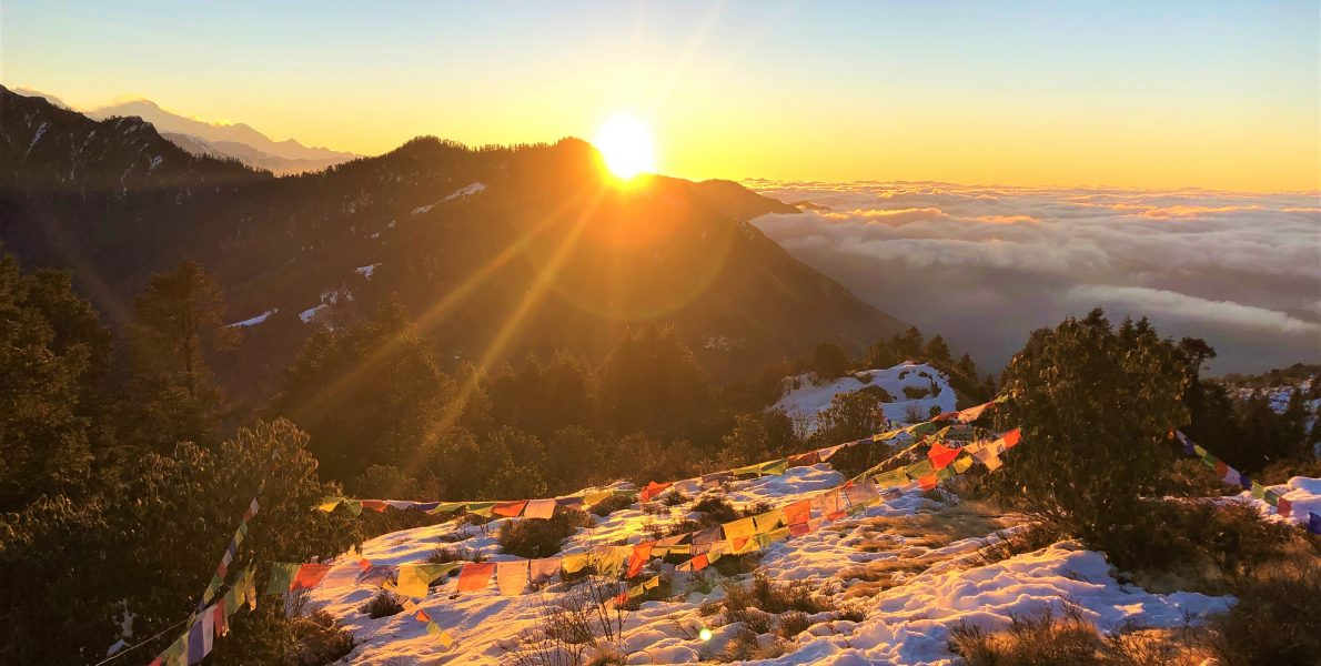a beautiful sunrise captured from Ghorepani poon hill