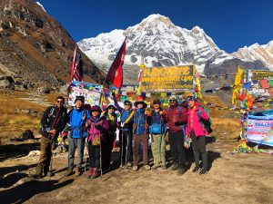 A group of trekkers enjoying at Annapurna Base Camp- Trekking in Nepal
