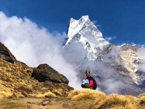 A man looking backward near Mardi Himal View Point- Trekking in Nepal 2021