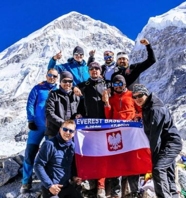 A group of trekkers at enjoying at Base Camp during the Everest Base Camp Luxury Trek