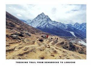 A Group of trekkers walking towards Dengboche from Lobuche