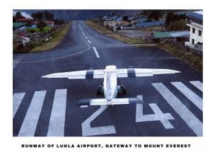 A plane ready to take off in Lukla Airport, Everest Region