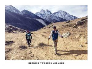 two trekkers heading towards lobuche