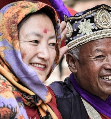 a beautiful photo of a man and a women from tamang culture captured during tamang heritage trail trek