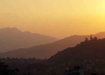 sunset view from one of the best short hiking destinations near Kathmandu
