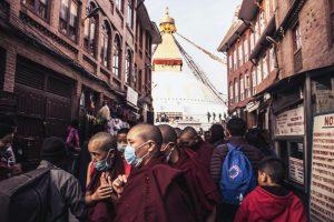 Crowd in the Bouddha stupa on the occasion of Buddha Jayanti