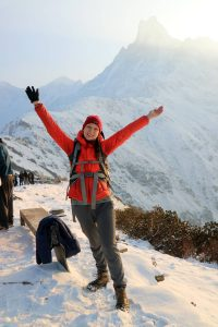 Michelle infront of Mardi Himal