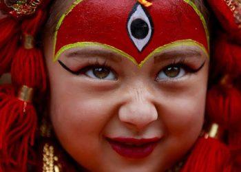 A young girl dressed as the Living Goddess Kumari