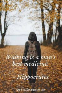 Walking quote for captions by Hippocrates